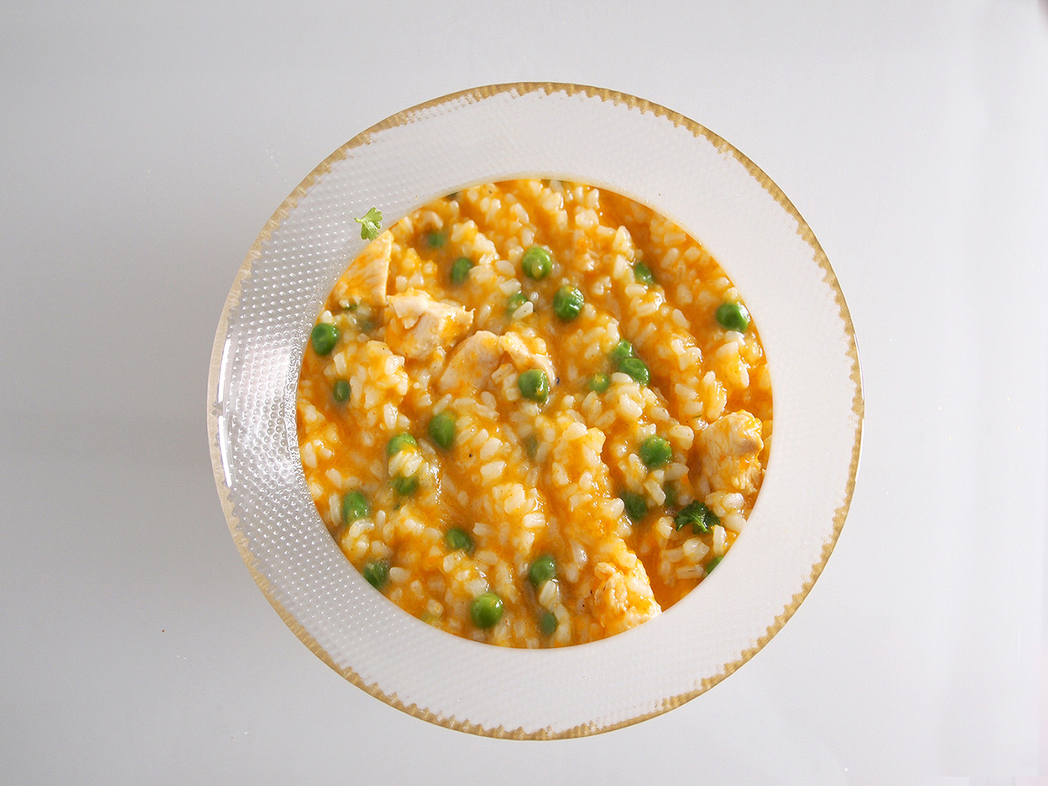 Rich Chicken and Peas Risotto
